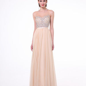 Beaded Bodice Chiffon A - Line Dress CDCJ90